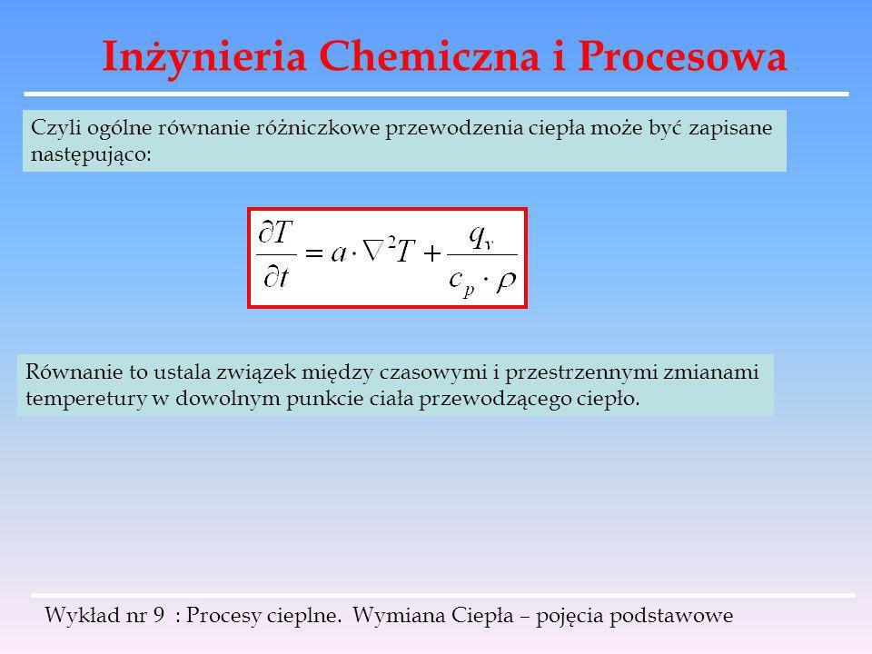 Inżynieria Chemiczna i Procesowa Wykład nr 9 : Procesy cieplne. Wymiana Ciepła – pojęcia podstawowe Czyli ogólne równanie różniczkowe przewodzenia cie