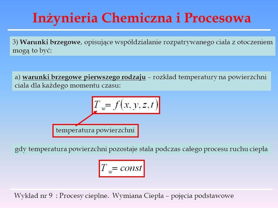 Inżynieria Chemiczna i Procesowa Wykład nr 9 : Procesy cieplne. Wymiana Ciepła – pojęcia podstawowe 3) Warunki brzegowe, opisujące współdziałanie rozp