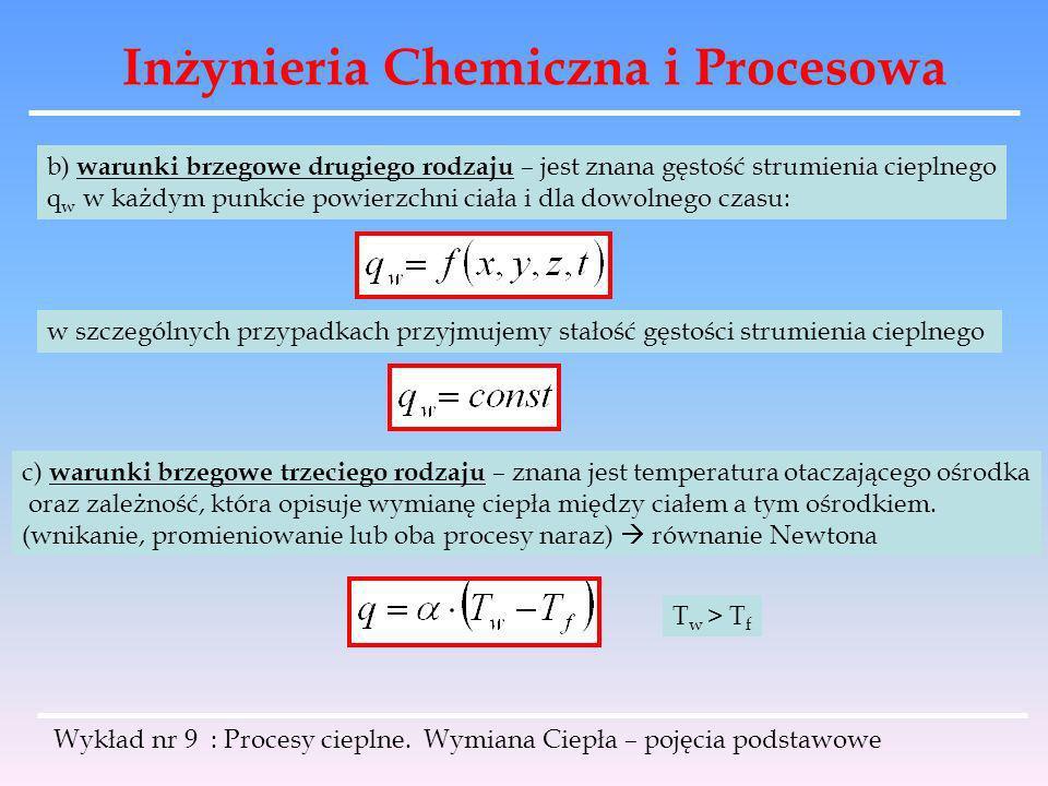 Inżynieria Chemiczna i Procesowa Wykład nr 9 : Procesy cieplne. Wymiana Ciepła – pojęcia podstawowe b) warunki brzegowe drugiego rodzaju – jest znana