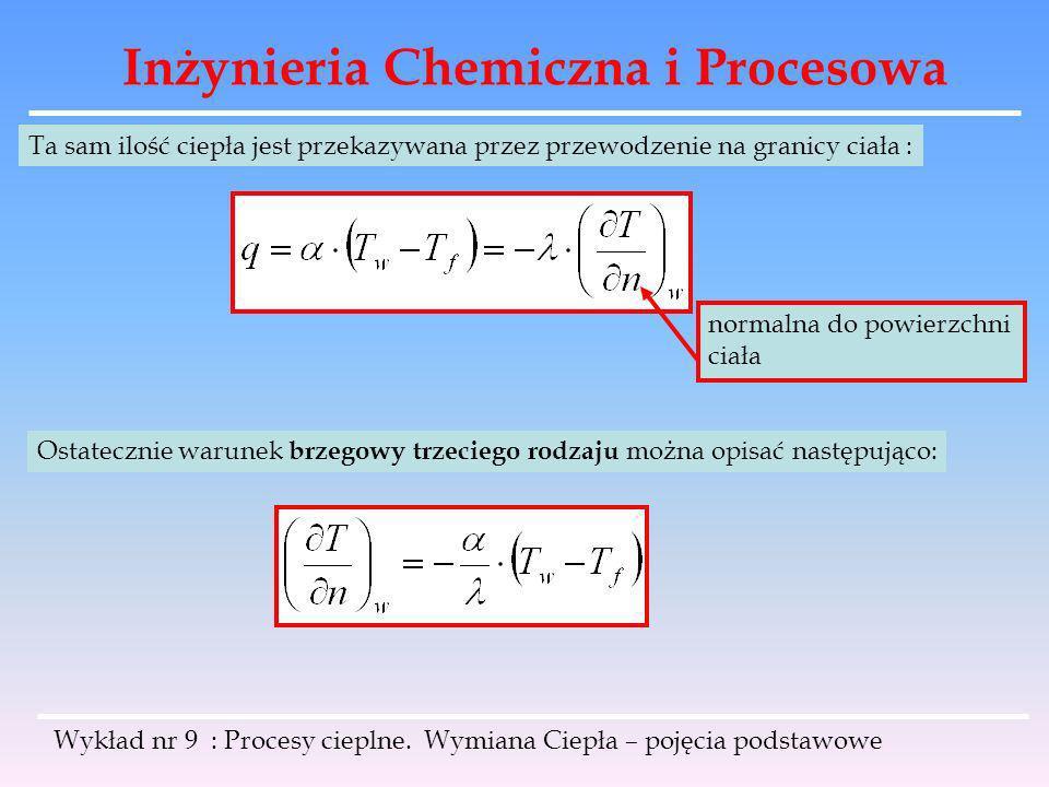 Inżynieria Chemiczna i Procesowa Wykład nr 9 : Procesy cieplne. Wymiana Ciepła – pojęcia podstawowe Ta sam ilość ciepła jest przekazywana przez przewo