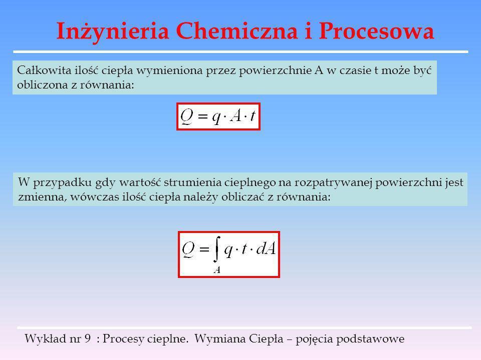 Inżynieria Chemiczna i Procesowa Wykład nr 9 : Procesy cieplne. Wymiana Ciepła – pojęcia podstawowe Całkowita ilość ciepła wymieniona przez powierzchn
