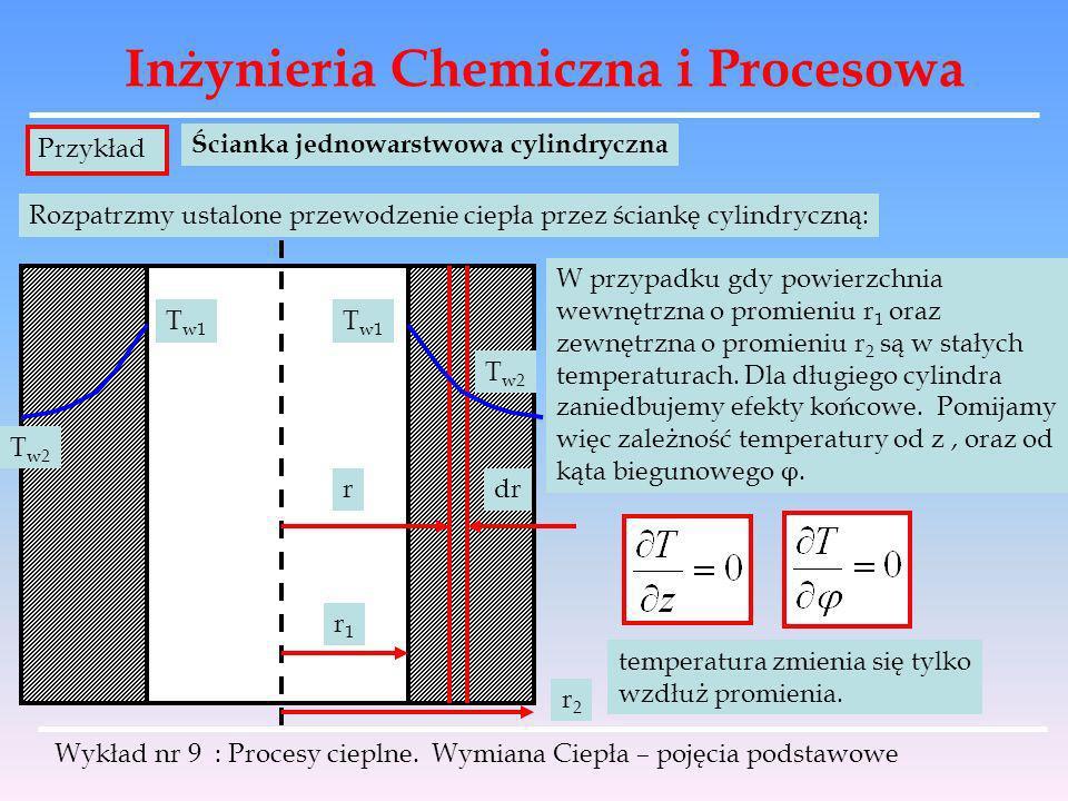 Inżynieria Chemiczna i Procesowa Wykład nr 9 : Procesy cieplne. Wymiana Ciepła – pojęcia podstawowe Przykład Ścianka jednowarstwowa cylindryczna Rozpa