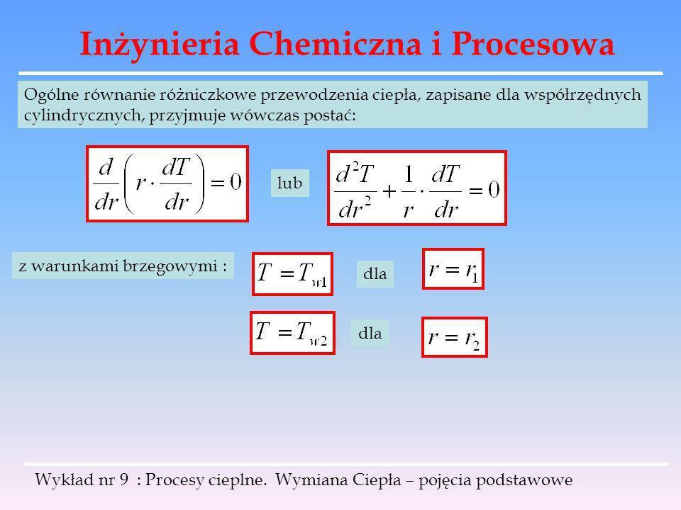 Inżynieria Chemiczna i Procesowa Wykład nr 9 : Procesy cieplne. Wymiana Ciepła – pojęcia podstawowe Ogólne równanie różniczkowe przewodzenia ciepła, z