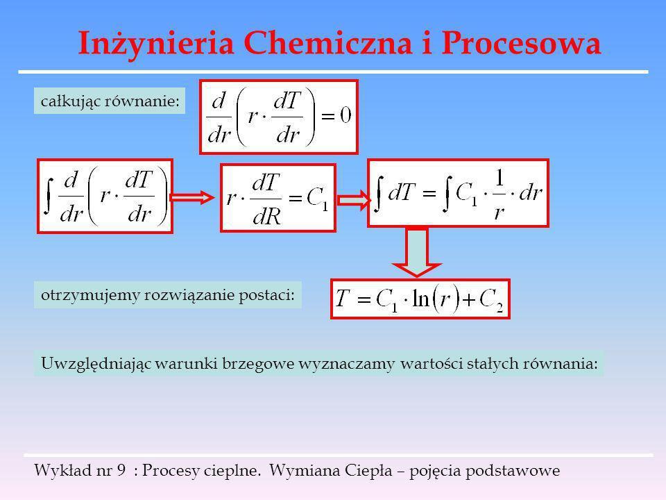Inżynieria Chemiczna i Procesowa Wykład nr 9 : Procesy cieplne. Wymiana Ciepła – pojęcia podstawowe całkując równanie: otrzymujemy rozwiązanie postaci