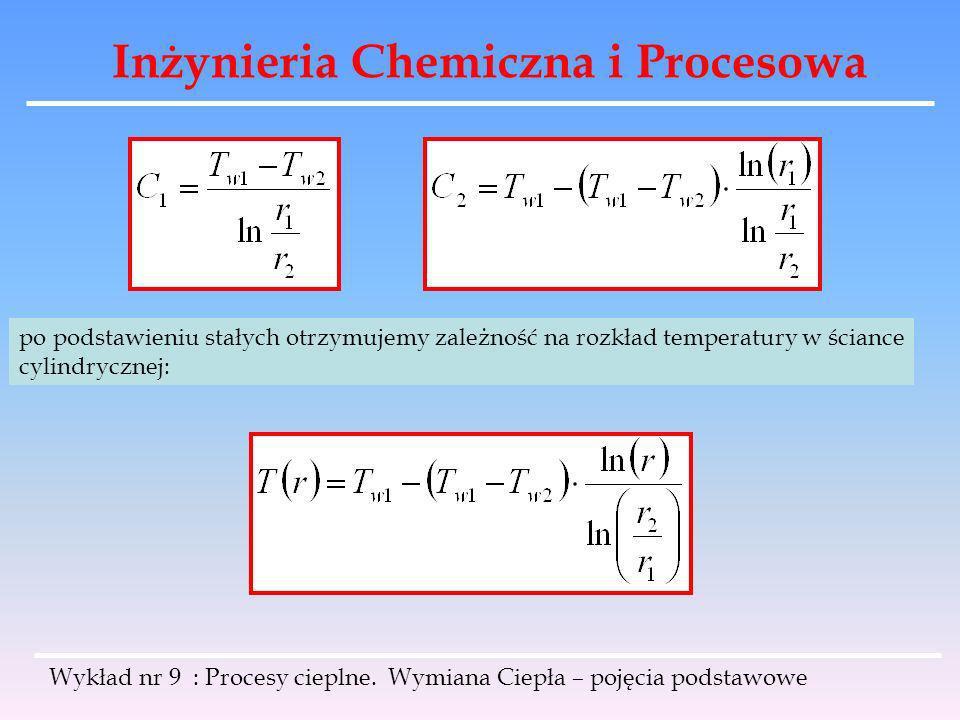 Inżynieria Chemiczna i Procesowa Wykład nr 9 : Procesy cieplne. Wymiana Ciepła – pojęcia podstawowe po podstawieniu stałych otrzymujemy zależność na r