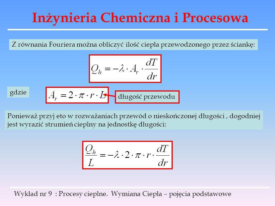Inżynieria Chemiczna i Procesowa Wykład nr 9 : Procesy cieplne. Wymiana Ciepła – pojęcia podstawowe Z równania Fouriera można obliczyć ilość ciepła pr