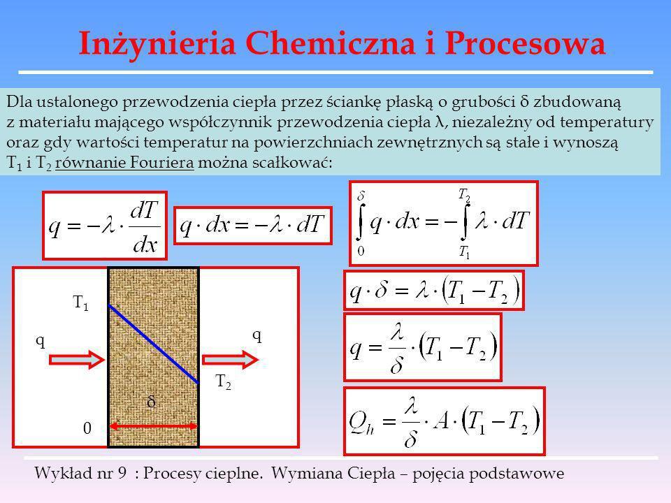 Inżynieria Chemiczna i Procesowa Wykład nr 9 : Procesy cieplne. Wymiana Ciepła – pojęcia podstawowe Dla ustalonego przewodzenia ciepła przez ściankę p