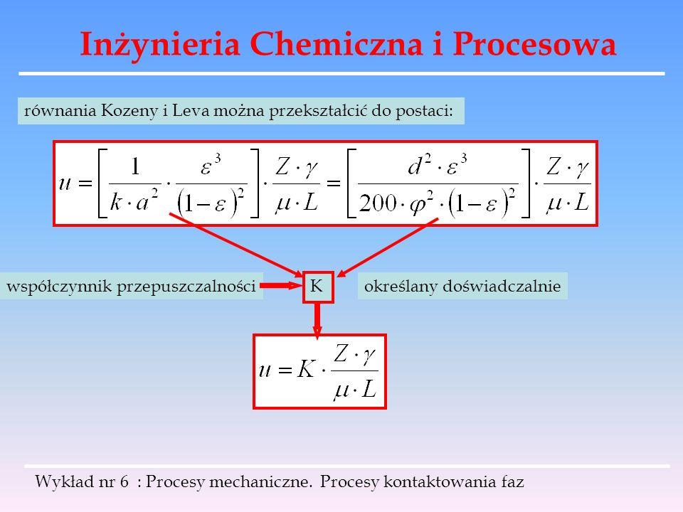 Inżynieria Chemiczna i Procesowa Wykład nr 6 : Procesy mechaniczne. Procesy kontaktowania faz równania Kozeny i Leva można przekształcić do postaci: K