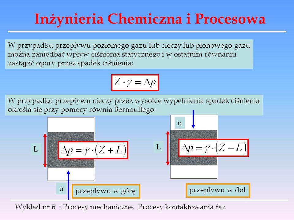 Inżynieria Chemiczna i Procesowa Wykład nr 6 : Procesy mechaniczne. Procesy kontaktowania faz W przypadku przepływu poziomego gazu lub cieczy lub pion