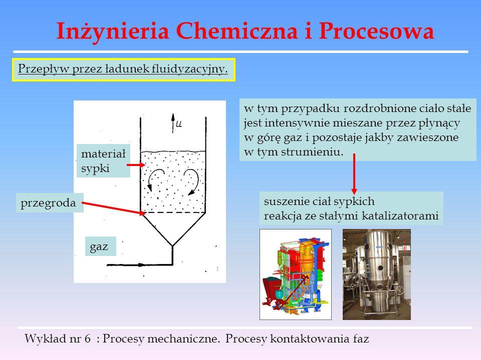 Inżynieria Chemiczna i Procesowa Wykład nr 6 : Procesy mechaniczne. Procesy kontaktowania faz Przepływ przez ładunek fluidyzacyjny. gaz materiał sypki