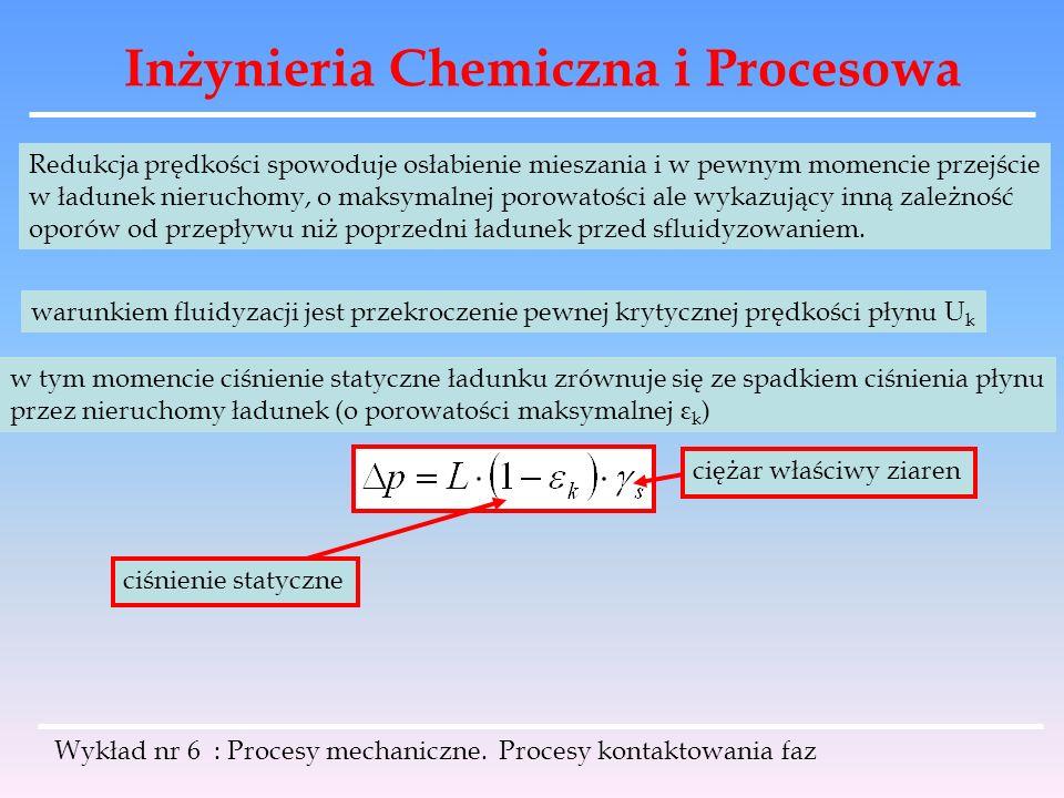 Inżynieria Chemiczna i Procesowa Wykład nr 6 : Procesy mechaniczne. Procesy kontaktowania faz Redukcja prędkości spowoduje osłabienie mieszania i w pe