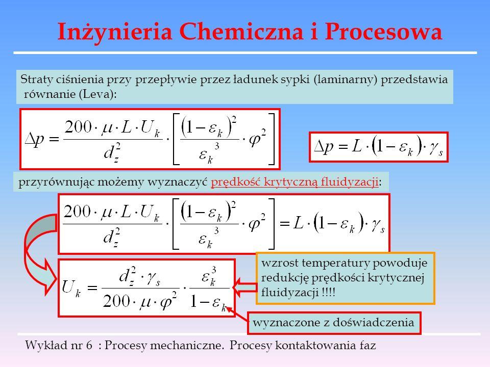 Inżynieria Chemiczna i Procesowa Wykład nr 6 : Procesy mechaniczne. Procesy kontaktowania faz Straty ciśnienia przy przepływie przez ładunek sypki (la