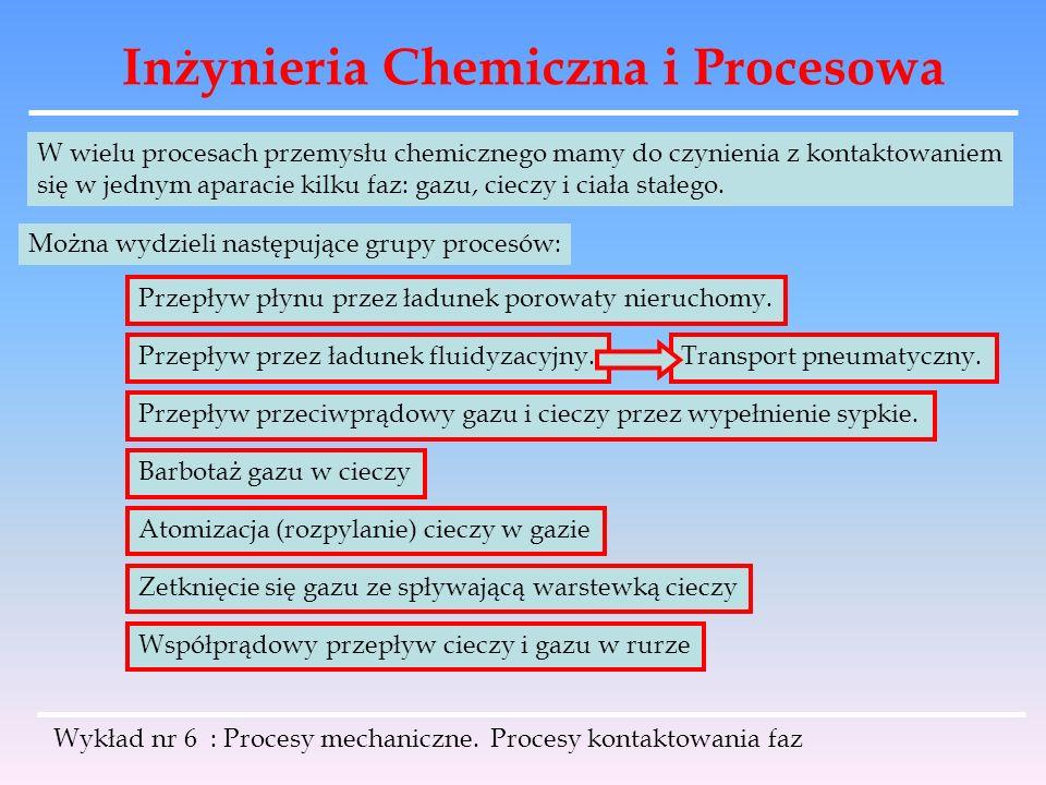 Inżynieria Chemiczna i Procesowa Wykład nr 6 : Procesy mechaniczne. Procesy kontaktowania faz W wielu procesach przemysłu chemicznego mamy do czynieni