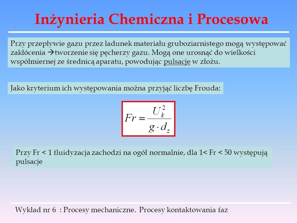 Inżynieria Chemiczna i Procesowa Wykład nr 6 : Procesy mechaniczne. Procesy kontaktowania faz Przy przepływie gazu przez ładunek materiału gruboziarni