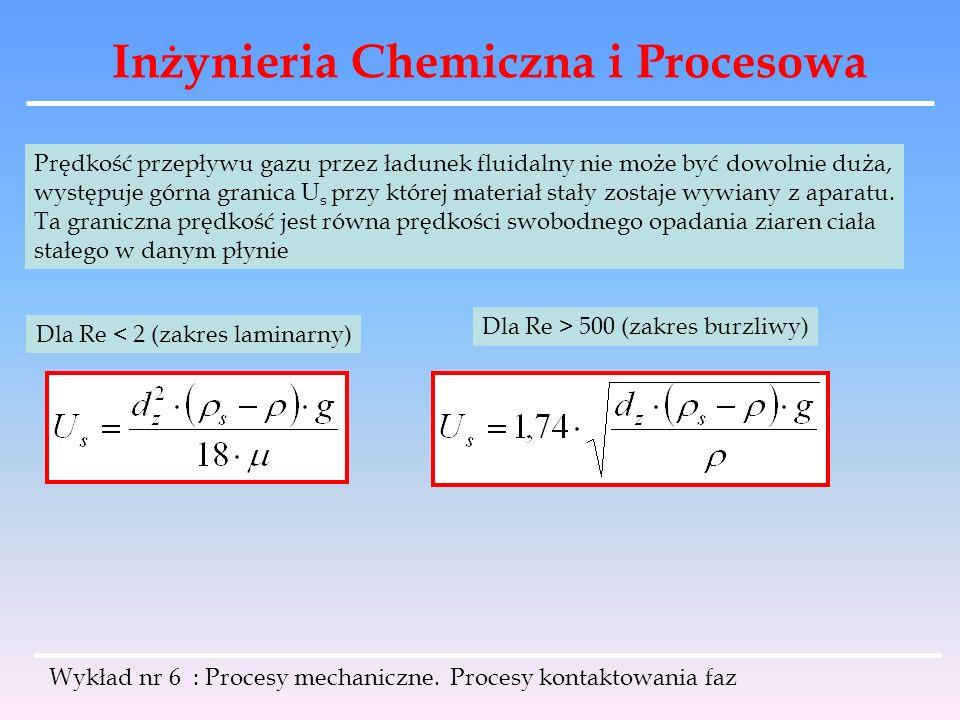 Inżynieria Chemiczna i Procesowa Wykład nr 6 : Procesy mechaniczne. Procesy kontaktowania faz Prędkość przepływu gazu przez ładunek fluidalny nie może