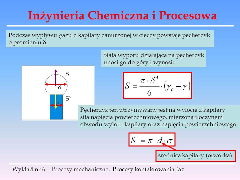 Inżynieria Chemiczna i Procesowa Wykład nr 6 : Procesy mechaniczne. Procesy kontaktowania faz Podczas wypływu gazu z kapilary zanurzonej w cieczy pows