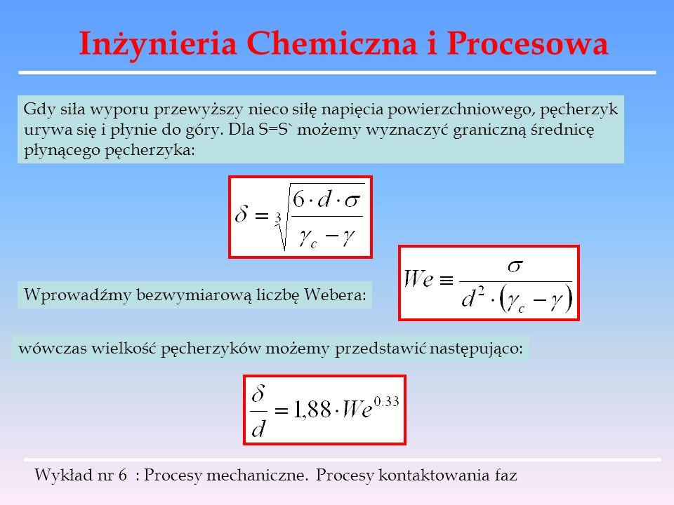 Inżynieria Chemiczna i Procesowa Wykład nr 6 : Procesy mechaniczne. Procesy kontaktowania faz Gdy siła wyporu przewyższy nieco siłę napięcia powierzch