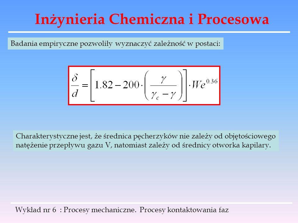 Inżynieria Chemiczna i Procesowa Wykład nr 6 : Procesy mechaniczne. Procesy kontaktowania faz Badania empiryczne pozwoliły wyznaczyć zależność w posta