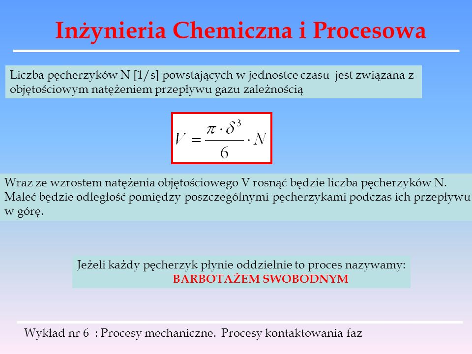 Inżynieria Chemiczna i Procesowa Wykład nr 6 : Procesy mechaniczne. Procesy kontaktowania faz Liczba pęcherzyków N [1/s] powstających w jednostce czas