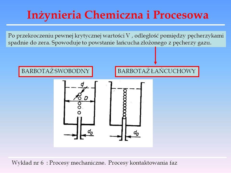 Inżynieria Chemiczna i Procesowa Wykład nr 6 : Procesy mechaniczne. Procesy kontaktowania faz Po przekroczeniu pewnej krytycznej wartości V, odległość
