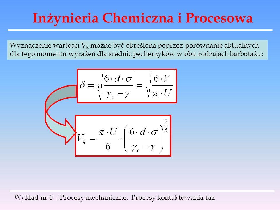 Inżynieria Chemiczna i Procesowa Wykład nr 6 : Procesy mechaniczne. Procesy kontaktowania faz Wyznaczenie wartości V k możne być określona poprzez por