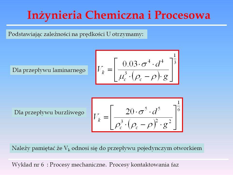 Inżynieria Chemiczna i Procesowa Wykład nr 6 : Procesy mechaniczne. Procesy kontaktowania faz Podstawiając zależności na prędkości U otrzymamy: Dla pr