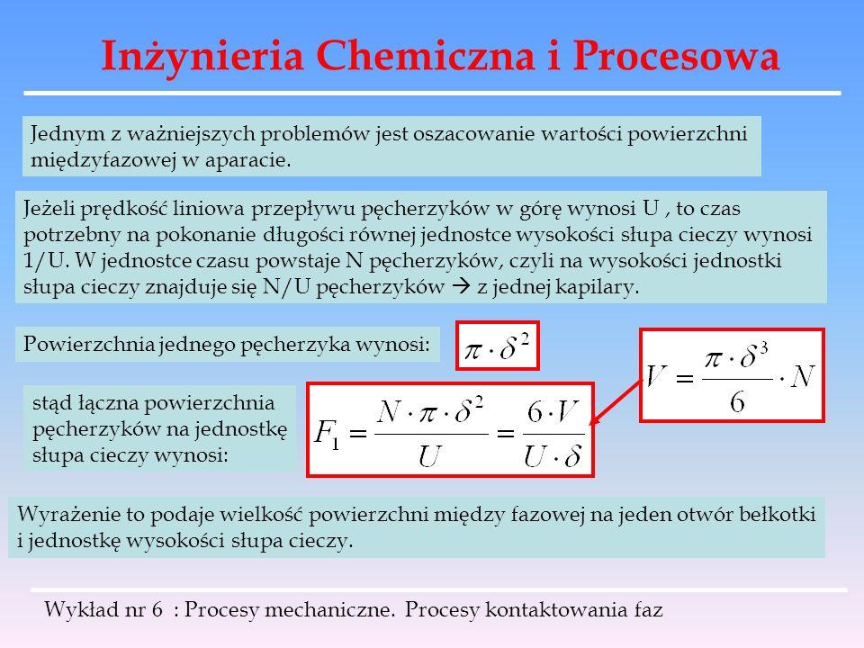Inżynieria Chemiczna i Procesowa Wykład nr 6 : Procesy mechaniczne. Procesy kontaktowania faz Jednym z ważniejszych problemów jest oszacowanie wartośc