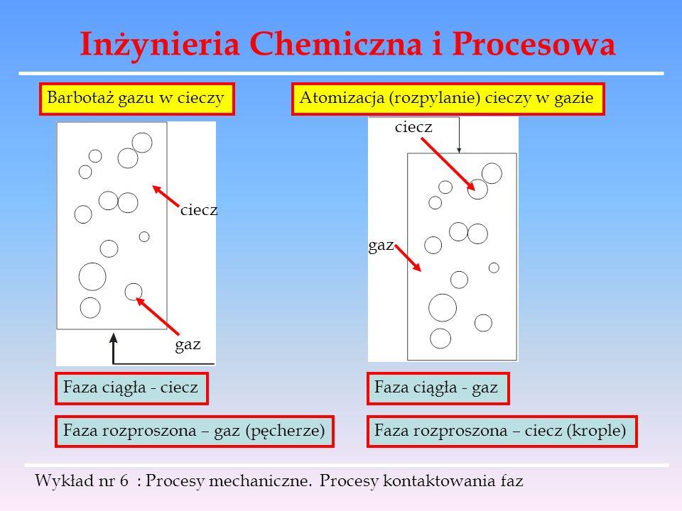 Inżynieria Chemiczna i Procesowa Wykład nr 6 : Procesy mechaniczne. Procesy kontaktowania faz gaz ciecz gaz Faza ciągła - ciecz Faza rozproszona – gaz