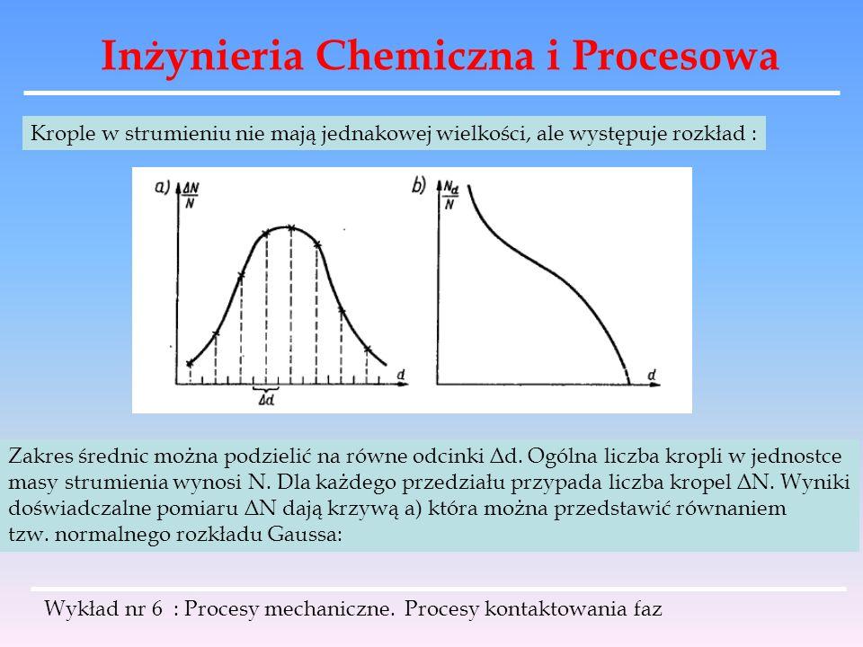 Inżynieria Chemiczna i Procesowa Wykład nr 6 : Procesy mechaniczne. Procesy kontaktowania faz Krople w strumieniu nie mają jednakowej wielkości, ale w