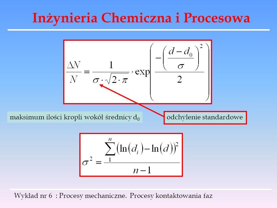 Inżynieria Chemiczna i Procesowa Wykład nr 6 : Procesy mechaniczne. Procesy kontaktowania faz maksimum ilości kropli wokół średnicy d 0 odchylenie sta