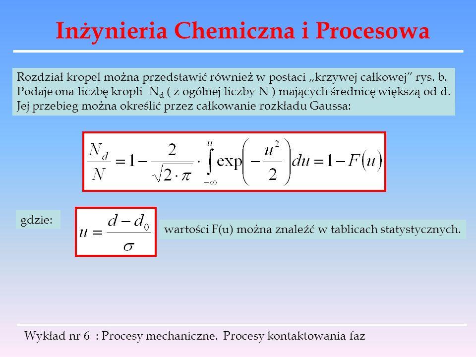 Inżynieria Chemiczna i Procesowa Wykład nr 6 : Procesy mechaniczne. Procesy kontaktowania faz Rozdział kropel można przedstawić również w postaci krzy