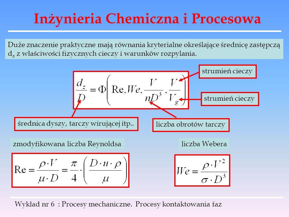 Inżynieria Chemiczna i Procesowa Wykład nr 6 : Procesy mechaniczne. Procesy kontaktowania faz Duże znaczenie praktyczne mają równania kryterialne okre
