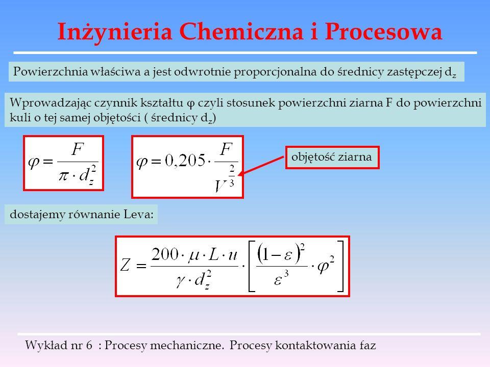 Inżynieria Chemiczna i Procesowa Wykład nr 6 : Procesy mechaniczne. Procesy kontaktowania faz Powierzchnia właściwa a jest odwrotnie proporcjonalna do