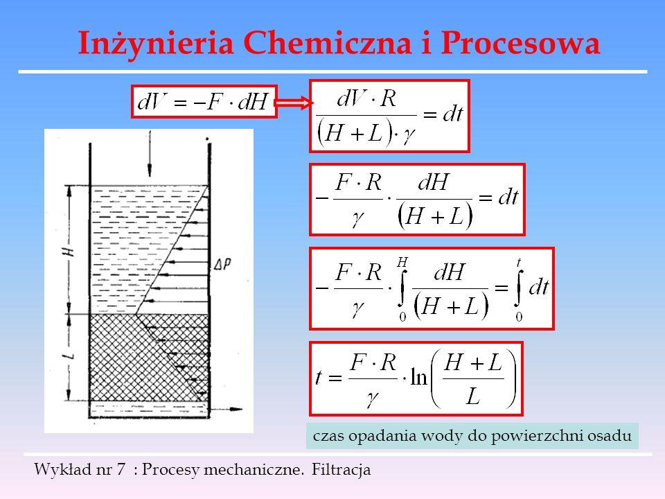 Inżynieria Chemiczna i Procesowa Wykład nr 7 : Procesy mechaniczne. Filtracja czas opadania wody do powierzchni osadu
