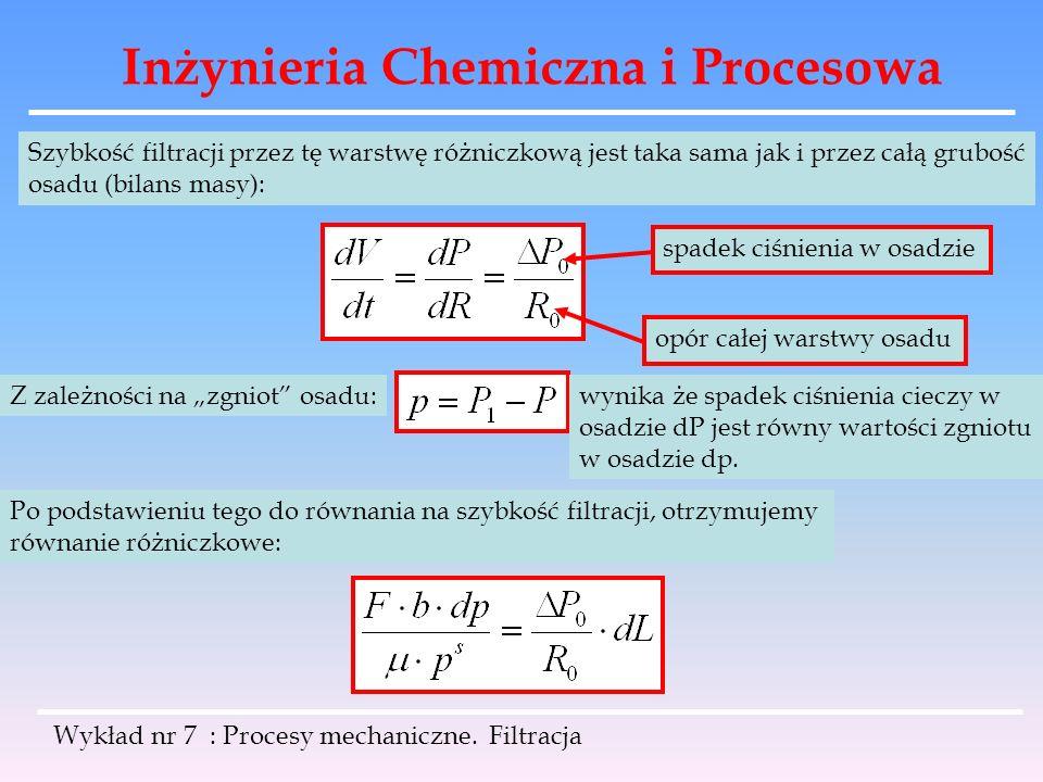 Inżynieria Chemiczna i Procesowa Wykład nr 7 : Procesy mechaniczne. Filtracja Szybkość filtracji przez tę warstwę różniczkową jest taka sama jak i prz