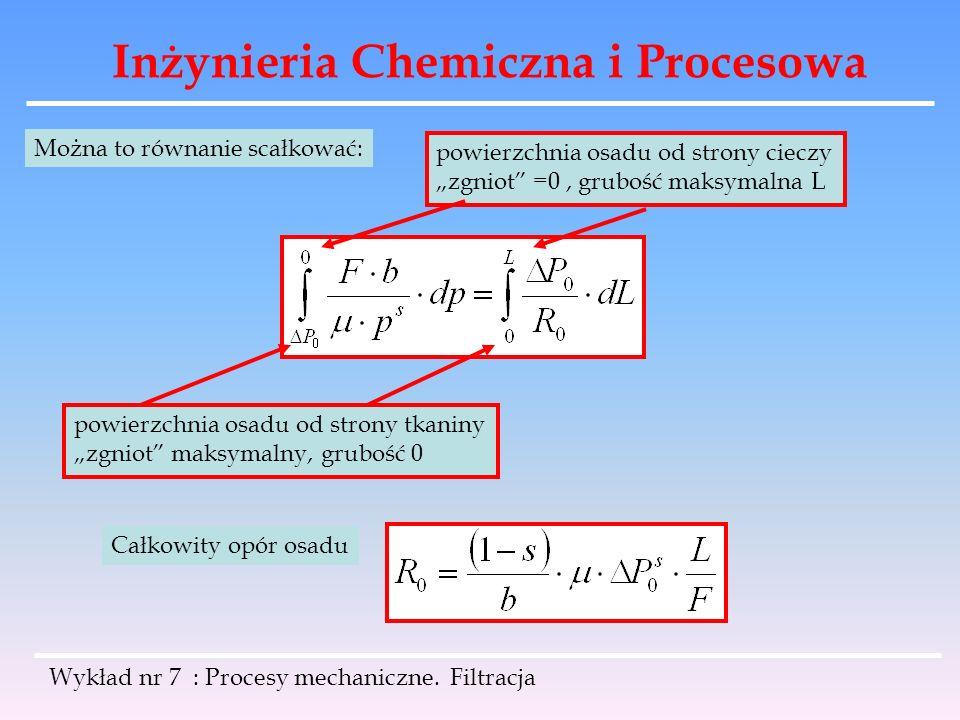 Inżynieria Chemiczna i Procesowa Wykład nr 7 : Procesy mechaniczne. Filtracja Można to równanie scałkować: powierzchnia osadu od strony tkaniny zgniot