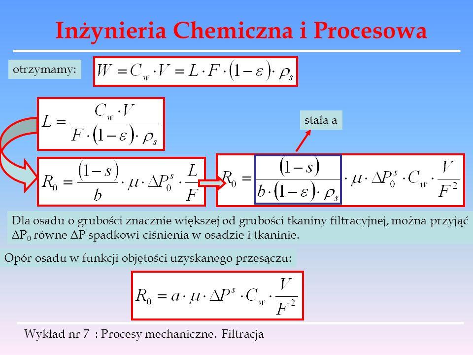 Inżynieria Chemiczna i Procesowa Wykład nr 7 : Procesy mechaniczne. Filtracja otrzymamy: Dla osadu o grubości znacznie większej od grubości tkaniny fi
