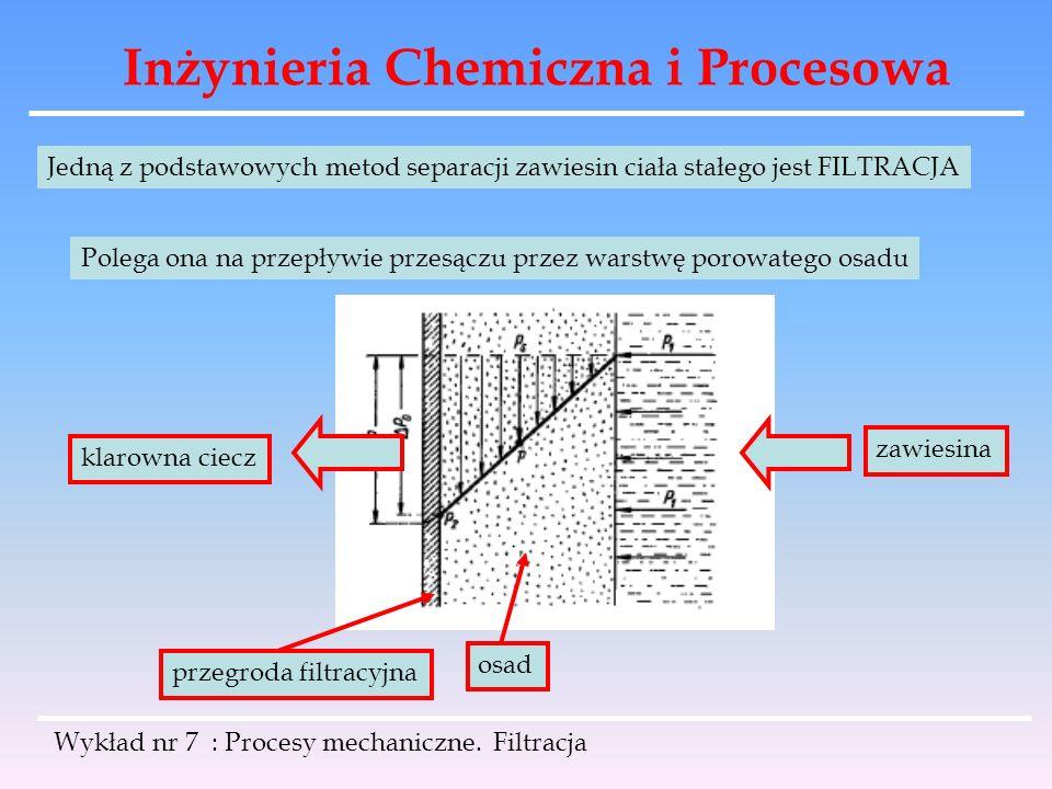 Inżynieria Chemiczna i Procesowa Wykład nr 7 : Procesy mechaniczne. Filtracja Jedną z podstawowych metod separacji zawiesin ciała stałego jest FILTRAC