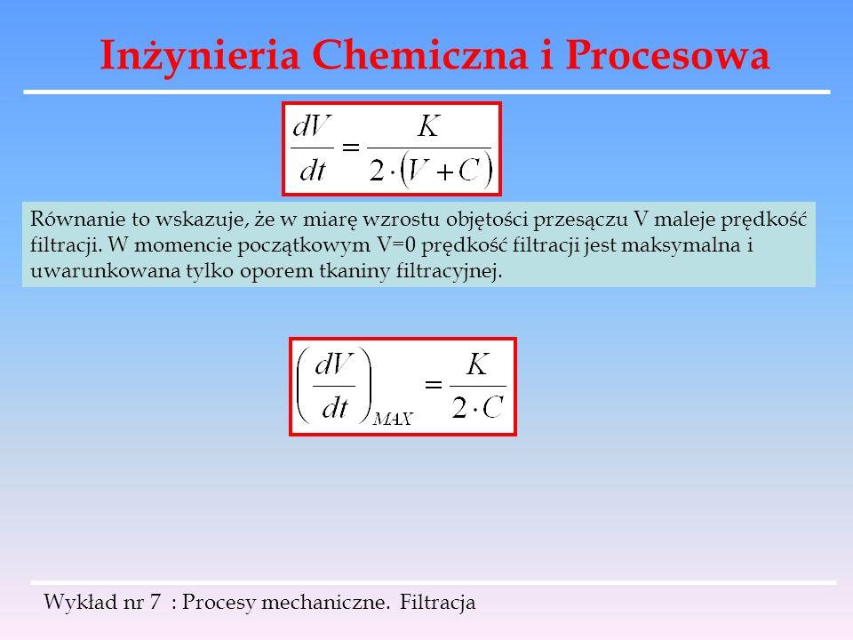 Inżynieria Chemiczna i Procesowa Wykład nr 7 : Procesy mechaniczne. Filtracja Równanie to wskazuje, że w miarę wzrostu objętości przesączu V maleje pr