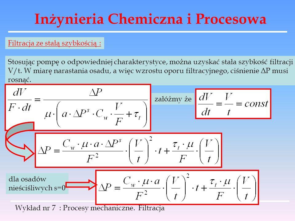 Inżynieria Chemiczna i Procesowa Wykład nr 7 : Procesy mechaniczne. Filtracja Filtracja ze stałą szybkością : Stosując pompę o odpowiedniej charaktery