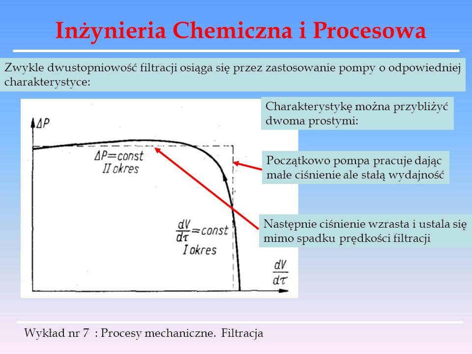 Inżynieria Chemiczna i Procesowa Wykład nr 7 : Procesy mechaniczne. Filtracja Zwykle dwustopniowość filtracji osiąga się przez zastosowanie pompy o od