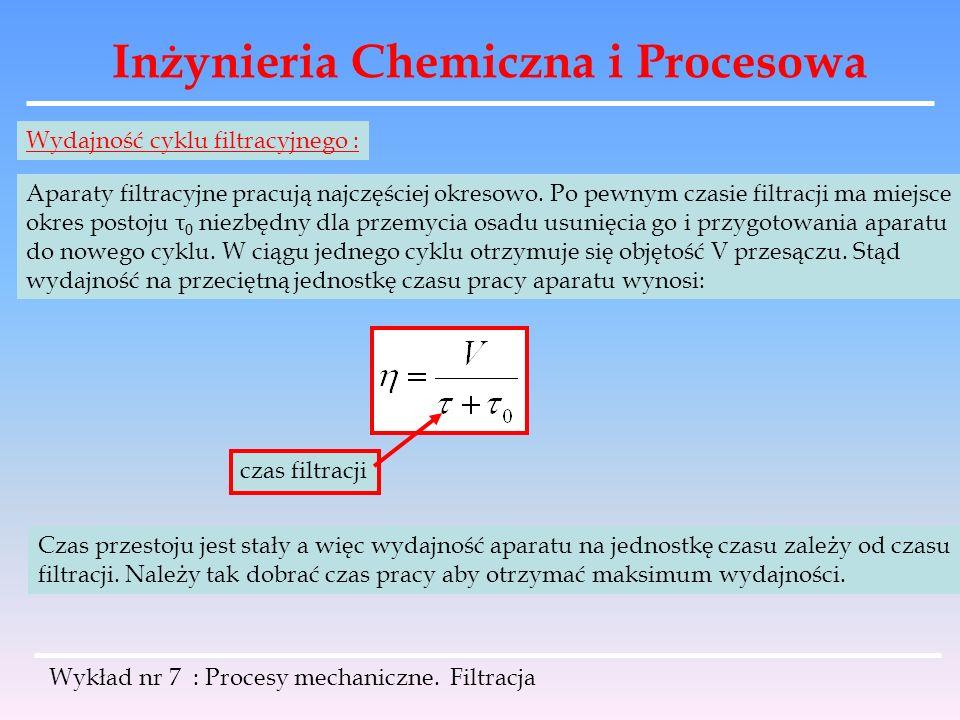 Inżynieria Chemiczna i Procesowa Wykład nr 7 : Procesy mechaniczne. Filtracja Wydajność cyklu filtracyjnego : Aparaty filtracyjne pracują najczęściej