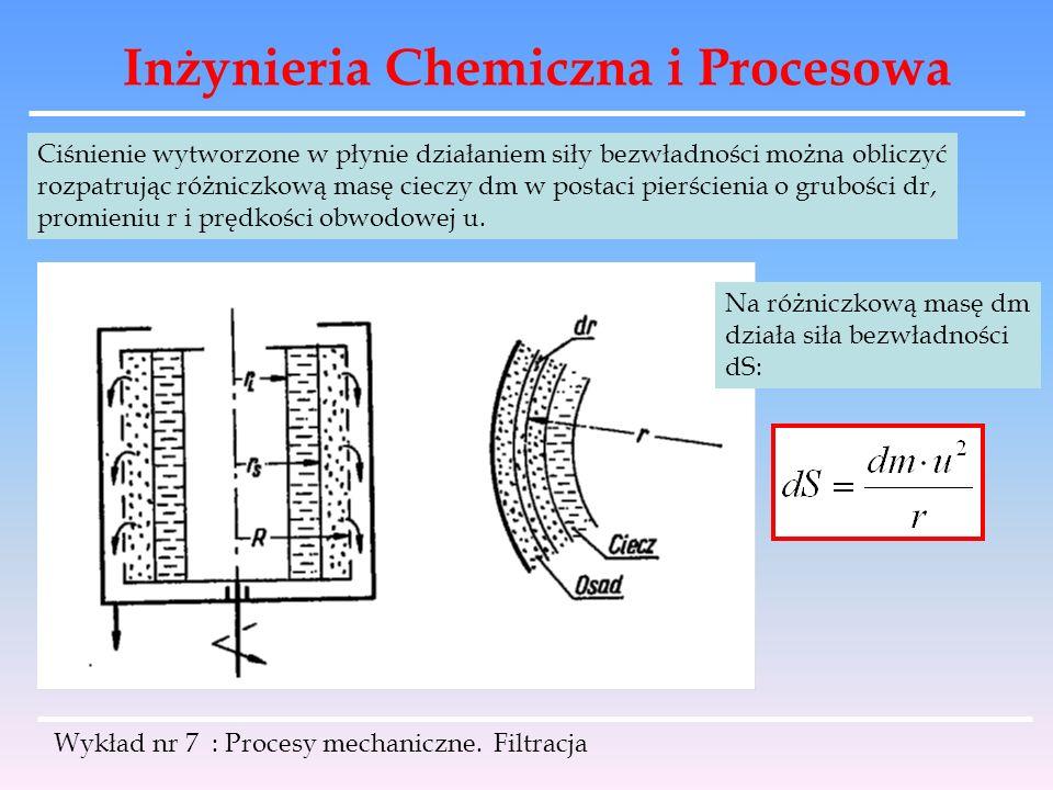 Inżynieria Chemiczna i Procesowa Wykład nr 7 : Procesy mechaniczne. Filtracja Ciśnienie wytworzone w płynie działaniem siły bezwładności można obliczy