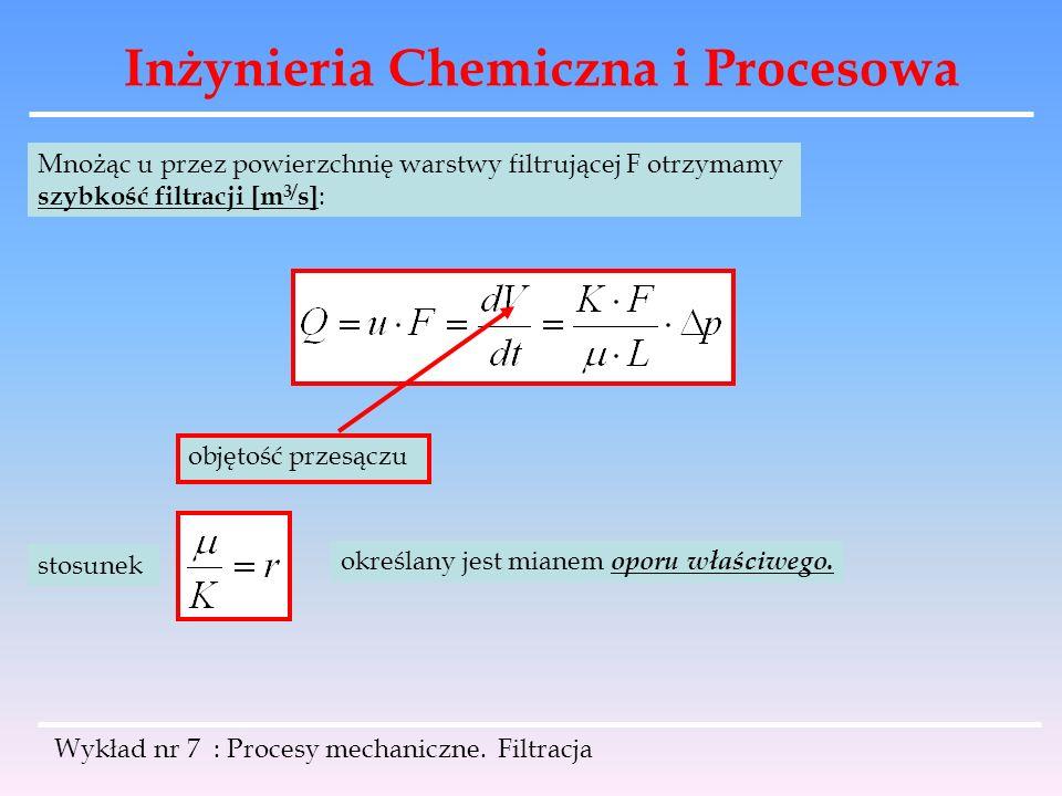 Inżynieria Chemiczna i Procesowa Wykład nr 7 : Procesy mechaniczne. Filtracja Mnożąc u przez powierzchnię warstwy filtrującej F otrzymamy szybkość fil
