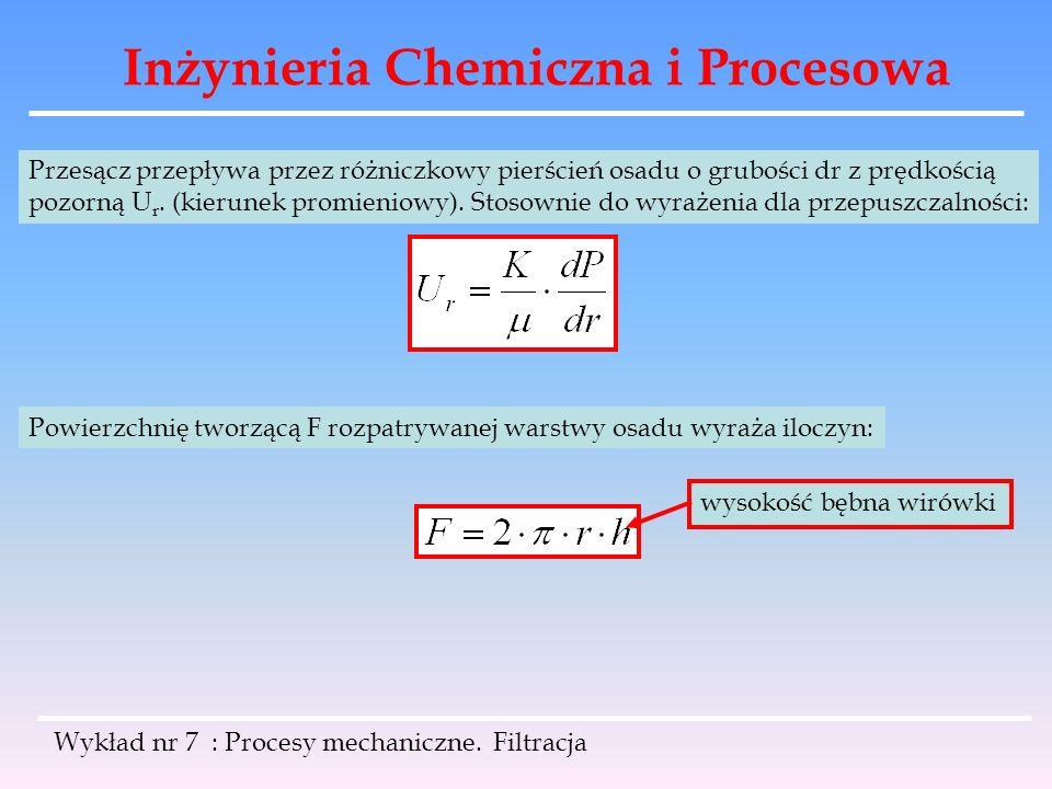 Inżynieria Chemiczna i Procesowa Wykład nr 7 : Procesy mechaniczne. Filtracja Przesącz przepływa przez różniczkowy pierścień osadu o grubości dr z prę