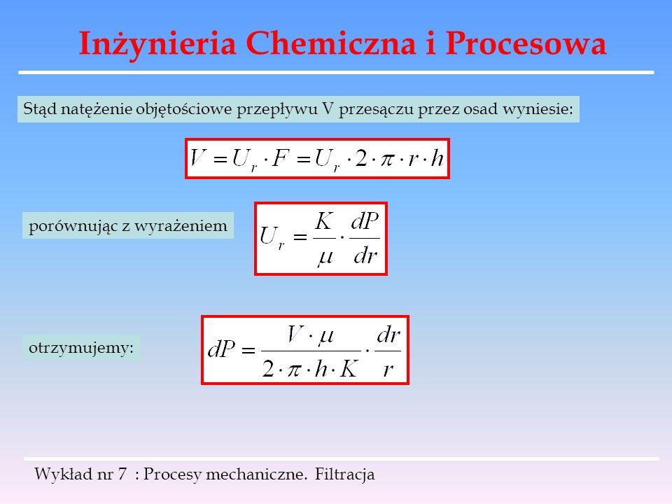 Inżynieria Chemiczna i Procesowa Wykład nr 7 : Procesy mechaniczne. Filtracja Stąd natężenie objętościowe przepływu V przesączu przez osad wyniesie: p