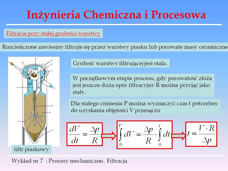 Inżynieria Chemiczna i Procesowa Wykład nr 7 : Procesy mechaniczne. Filtracja Filtracja przy stałej grubości warstwy Rozcieńczone zawiesiny filtruje s