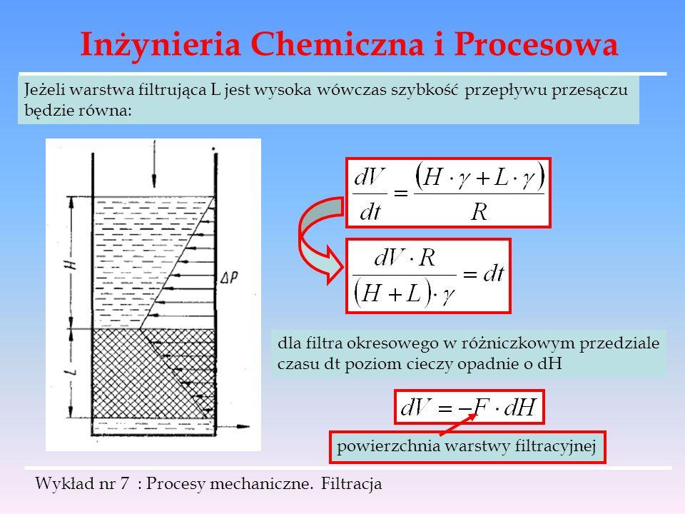 Inżynieria Chemiczna i Procesowa Wykład nr 7 : Procesy mechaniczne. Filtracja Jeżeli warstwa filtrująca L jest wysoka wówczas szybkość przepływu przes