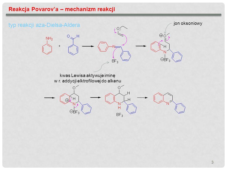Reakcja Povarova – mechanizm reakcji typ reakcji aza-Dielsa-Aldera kwas Lewisa aktywuje iminę w r. addycji elktrofilowej do alkenu jon oksoniowy 3