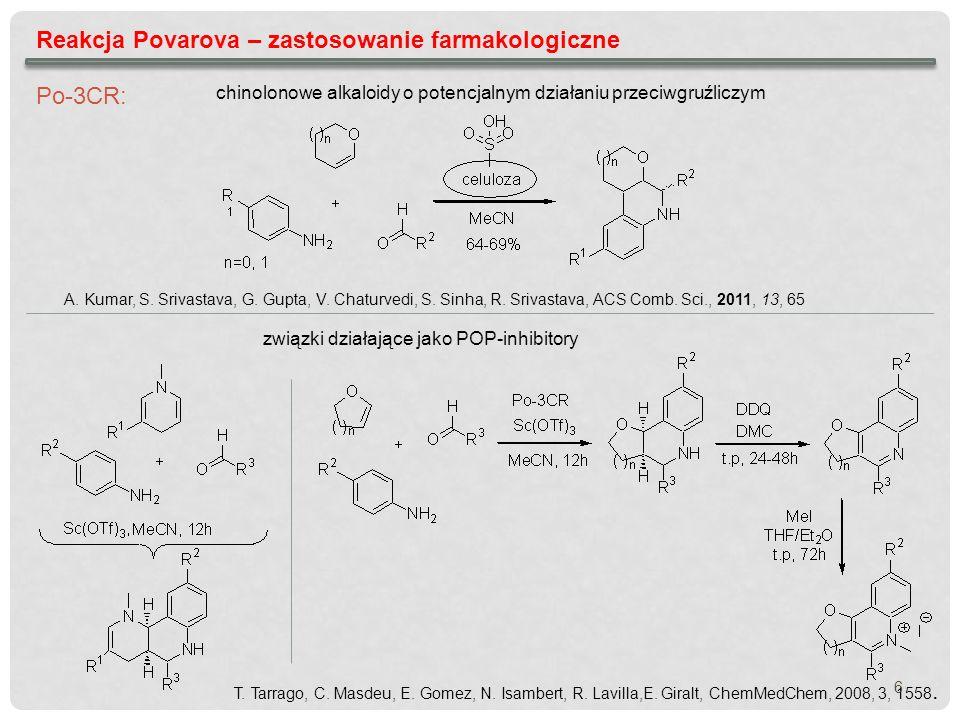 Reakcja Povarova – zastosowanie farmakologiczne chinolonowe alkaloidy o potencjalnym działaniu przeciwgruźliczym A. Kumar, S. Srivastava, G. Gupta, V.